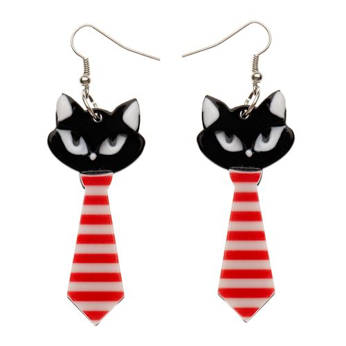 Limited edition, original Erstwilder Tilda Tie Cat Earrings in black. Designed by Louisa Camille Melbourne. Buy now