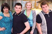 Gavin & Stacey. Image shows from L to R: Nessa (Ruth Jones), Gavin (Mathew Horne), Stacey (Joanna Page), Smithy (James Corden).