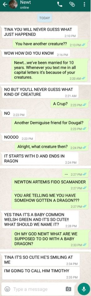 Newt and Tina text conversation
