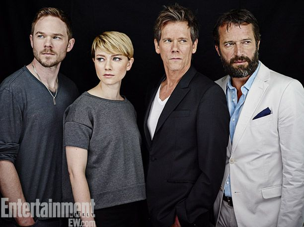 Shawn Ashmore, Valorie Curry, Kevin Bacon, and James Purefoy - the cast of The Following