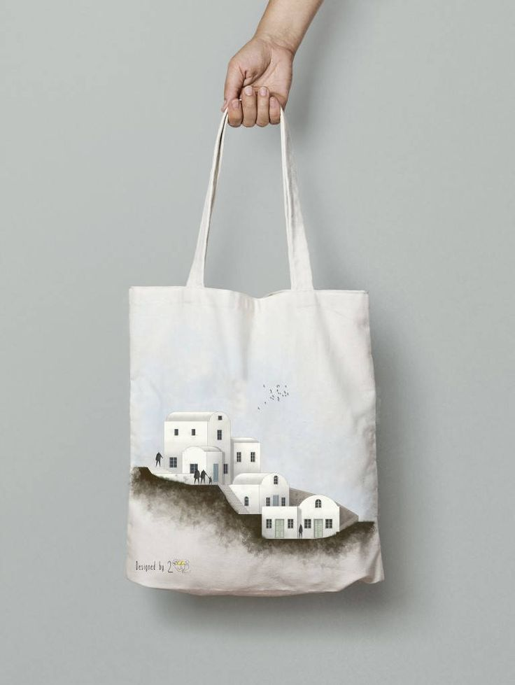 Santorini travel prints Tote bag canvas santorini art Tote