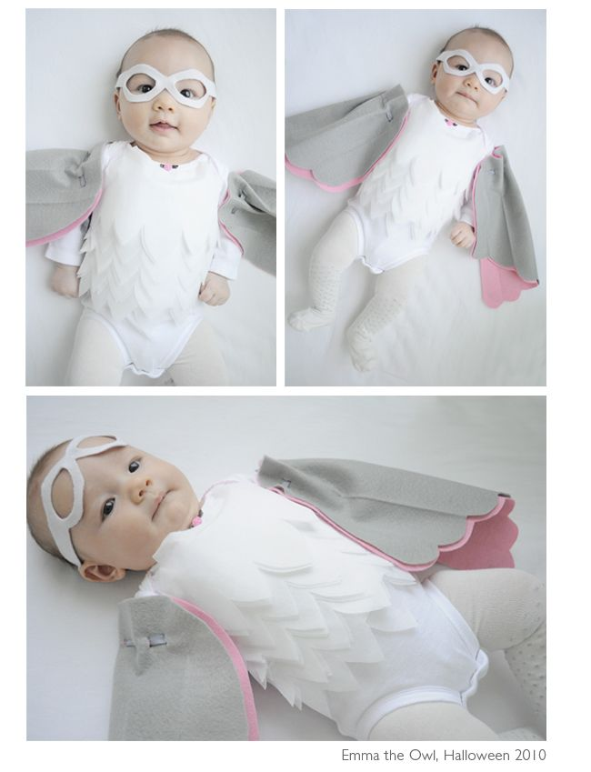 DIY baby owl Halloween costume how-to. Wow, this came out beautifully!