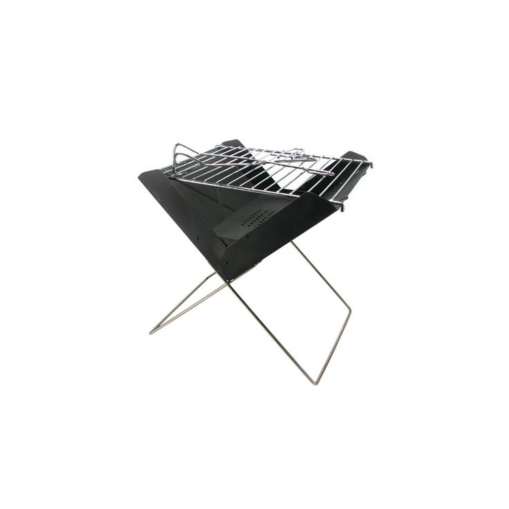 Portable folding grill made of metal.