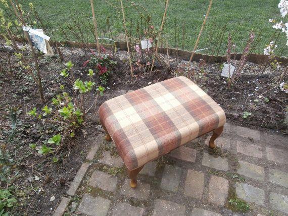 Ross Tartan Tweed Vintage Footstool in Rosehip by FlossyFootstools, £195.00