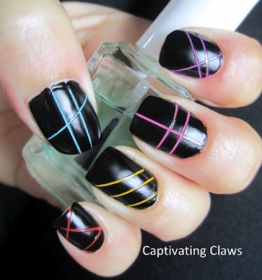Skittles and Black Striping Tape Nails