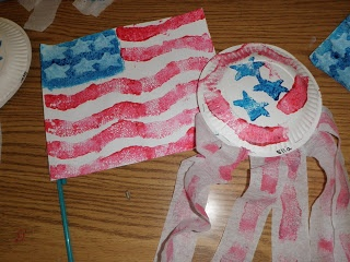 4th of July flag and shaker craft
