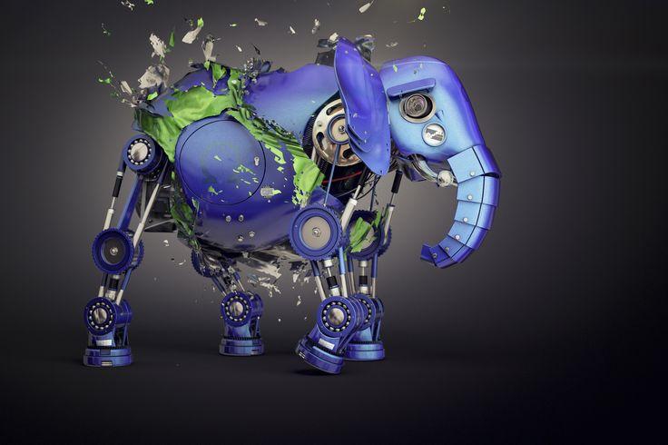 » elephant « 3D art by Robert Fahrnow for HEINE RESISTORS