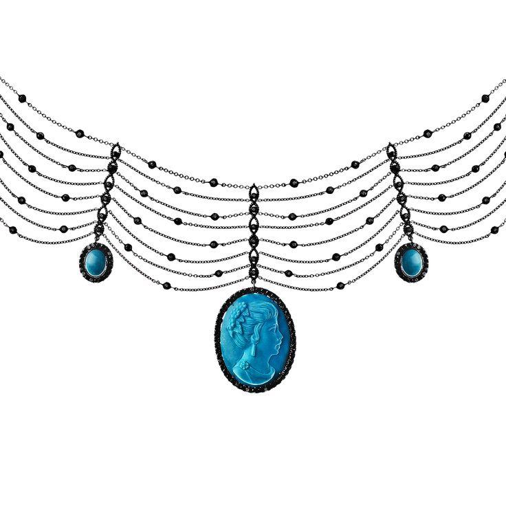 Necklace 554 | Turquoise Cameo / Turquoise / Black Diamond / Black Gold