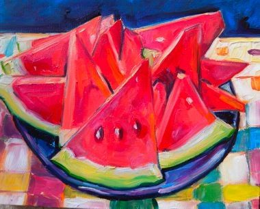 Watermelon is HERE 8x10 oil on canvas $100, painting by artist Elizabeth Fraser