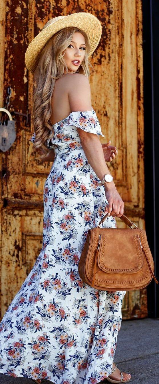 #summer #outfits Light Hat + White Floral Off The Shoulder Maxi Dress + Camel Leather Tote Bag ✌️