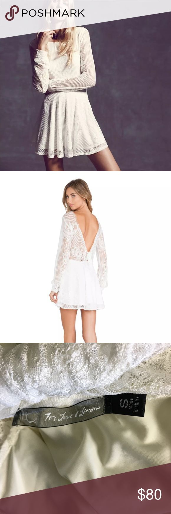 "For Love And Lemons Lolo Lace Fit Flare Dress Name Brand: For Love And Lemons  Condition: Pre Owned, Excellent condition light wear, no holes, stains or flaws to note  Size: Small (see measurements)  Color: White  Style: Lolo Dress  Material: Nylon Rayon Blend  Always check the measurements, label sizes are not consistent.   Measurements are approximate, and are of item laying flat and unstreched: Waist: 15"" Length: 34 "" Bust:19"" Sleeve: 21.5"" For Love And Lemons Dresses"