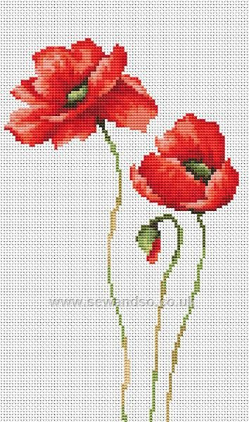 Buy 3 Poppies Cross Stitch Kit Online at www.sewandso.co.uk
