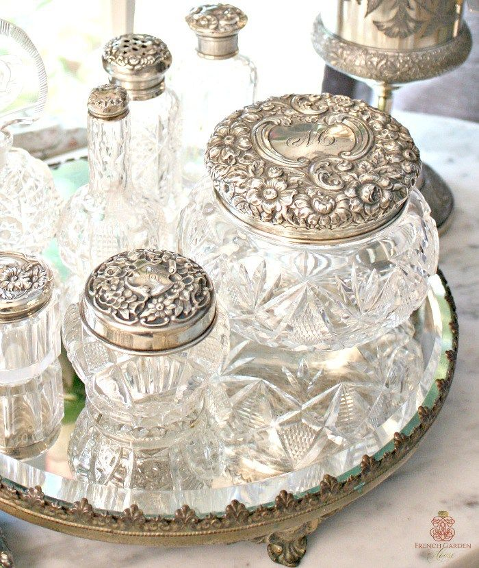 4 Tips For Displaying Your Collections In Your Decor French Garden House Antique Vanity Set Silver Decor Antique Vanity