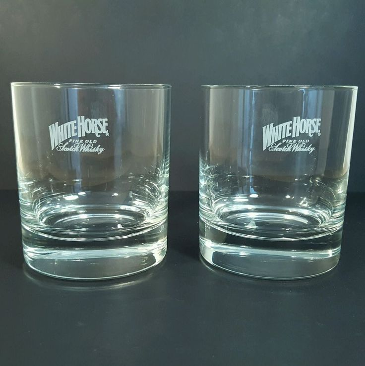 Pair of lovely heavy weight glass White horse whisky tumblers. Fast dispatch! | eBay!