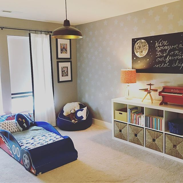 Not a babies room and not quite a big boy room and because he is still loving his toddler race car bed the room seems a bit in limbo to me and I'm itching for a makeover.  Learning to enjoy the moment though and the fact he's so proud of his room!  #lauriejoneshome #bigboyroom #racecarbed #boysroom