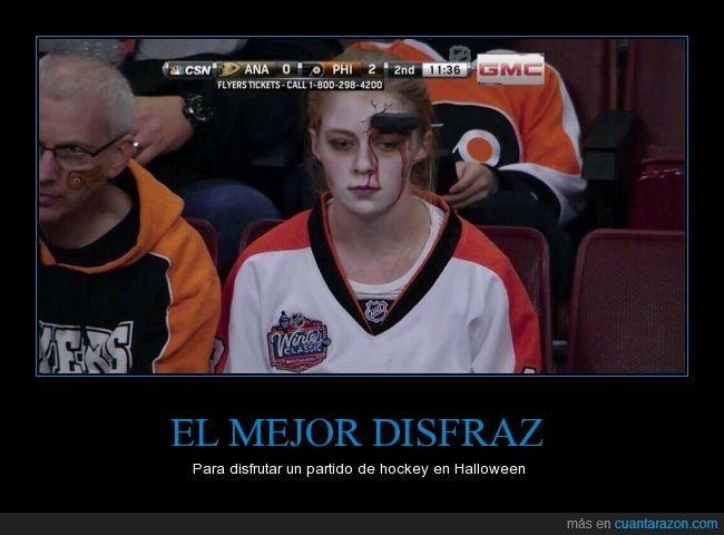 Muy logrado, un 10 para esta chica - Para disfrutar un partido de hockey en Halloween