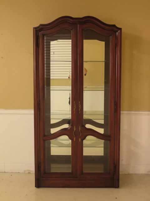 38431E: KARGES 2 Door Beveled Glass French Style Curio Vitrine Cabinet