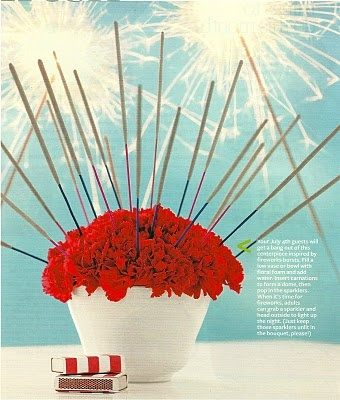 4th of July Centerpiece--Simply anchor an  arrangement of flowers in a vessel with florist foam. (can also do red, wht and blue flowers) Insert sparklers within the arrangement. When it's time for fireworks fun, just pull them right out and light them up.