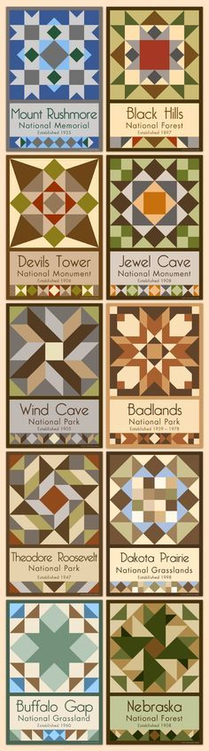 The Dakotas and the Black Hills - We have quilt blocks of more than 75 National Parks and Monuments for sale on our web site. Choose the parks you want, single quilt blocks or sets. Free shipping over $100!