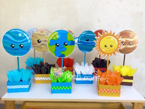 Blast Off Outer Space birthday party Planets Outer Space Solar System wood guest table centerpiece decoration solar centerpiece SET OF 9