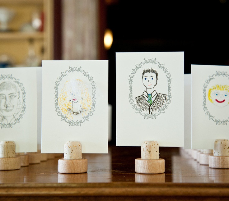 Escort cards with self portrait sent back with reply cards. Cute idea!     Photography By / http://cappyhotchkiss.com