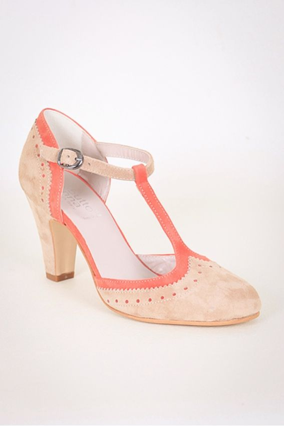 Escarpins salomé bi-colore (Corail) - Chaussures à talons - STOCK FAMILY
