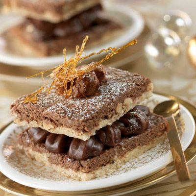 Découvrez la recette du croustillant praline et ganache au chocolat