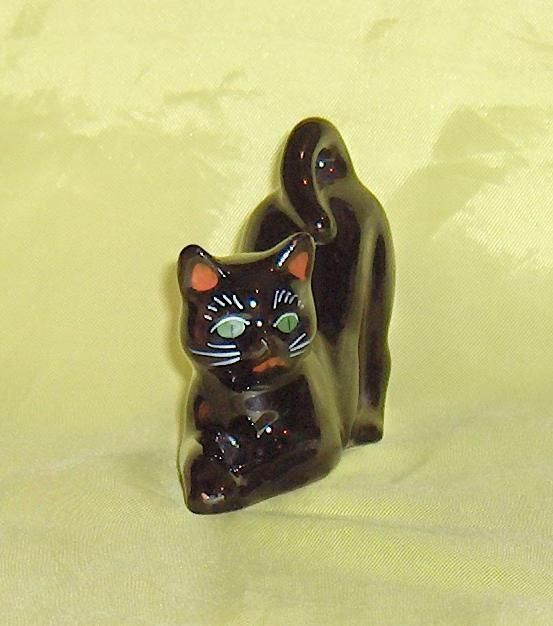 Black Cat Redware  Vintage Figurine with Green  and Red Ear Lining Eyes