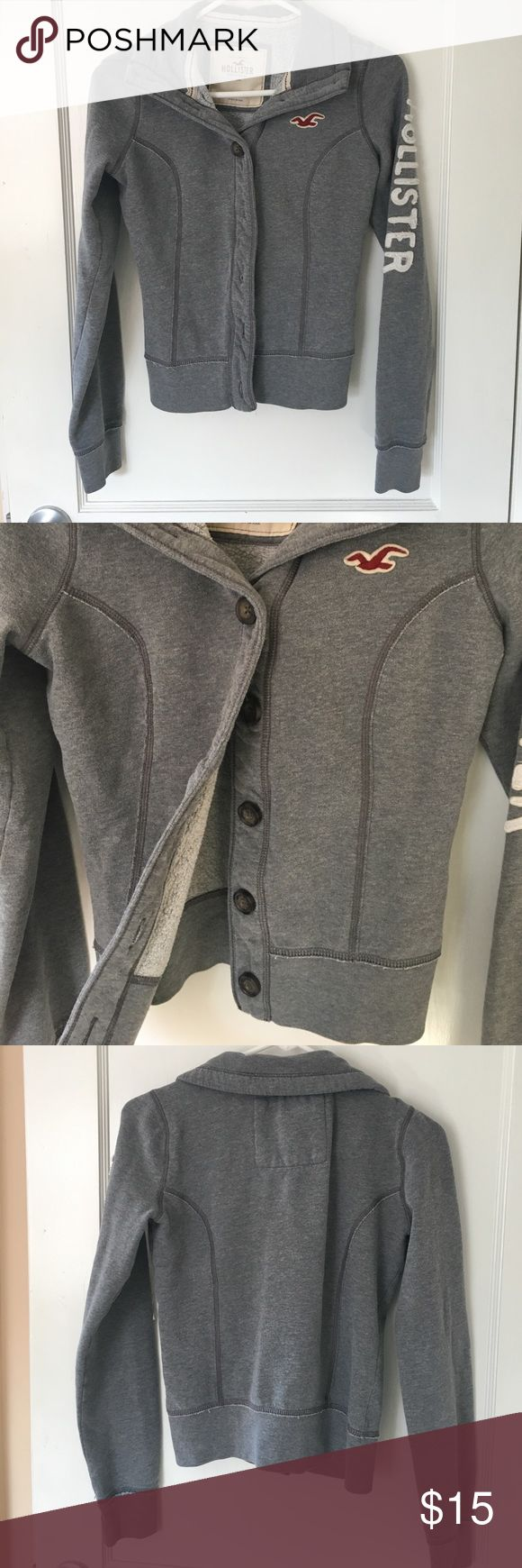 Hollister jacket Gray Hollister jacket with Hollister written down the left arm sleeve in white. Maroon bird on front. Super cute. Only worn a few times. Hollister Jackets & Coats