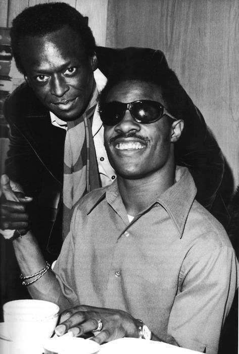 Rare Miles Davis and Stevie Wonder photo