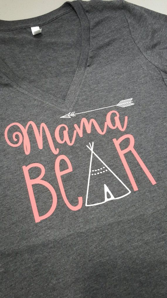 Two-Toned Mama Bear with Arrow VNeck Shirt by LeeThreeEmbroidery