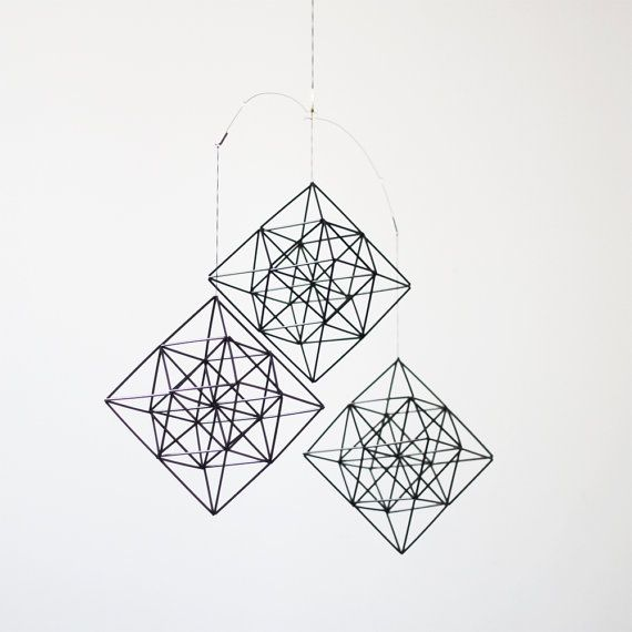 himmeli diamonds  set of 3  hanging mobile  modern by HRUSKAA, $147.00  This artist is from Grand Rapids, MI Sooo beautiful is his glass works,  be beautiful in any home!