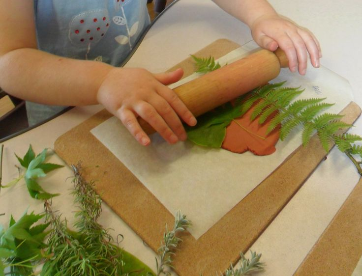 Nature Printing in Clay @ New Horizons Preschool