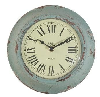 Distressed Duck Egg Blue Wall Clock: Amazon.co.uk: Kitchen ...