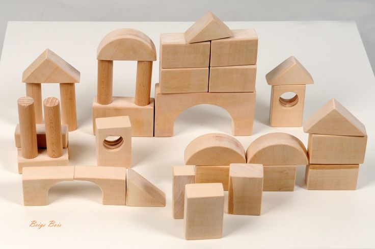 Wooden Blocks - Montessori Building Blocks - 34 pieces - Eco-Friendly Blocks - Montessori Toddler Wooden Toy