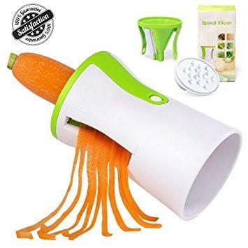 Spiral Slicer, Vegetable Spiralizer with 3 Blades, Handheld Veggie Noodle Maker Zoodle Zucchini Veggie Spaghetti Pasta Noodle Maker By Higo Review 2017