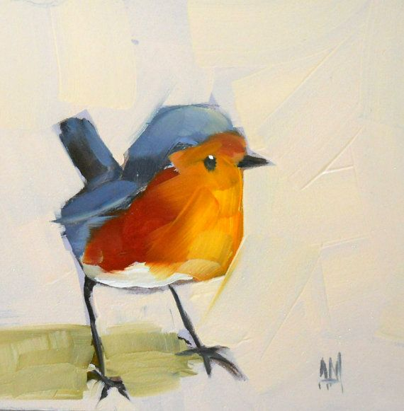baby robin no 6 print by moulton 5 x 5 inches by prattcreekart, $8.00