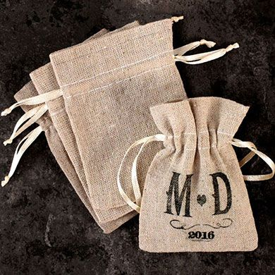 Mini Linen Drawstring Pouch Favor $32 for 48, $58 for 96, see my other pin for the stamp ($45 for custom stamp)