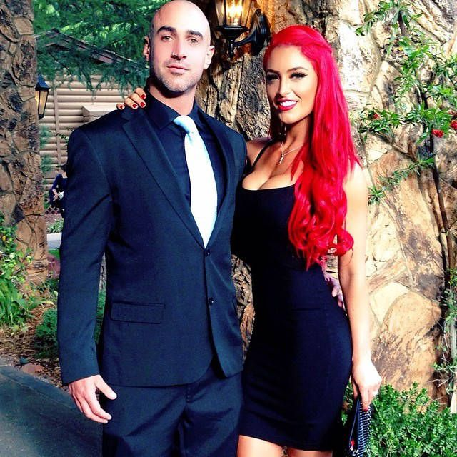 Hot Couple from Brie Bella and Daniel Bryan's Wedding Diva Eva Marie and husband Jonathan Coyle pose for the cameras.