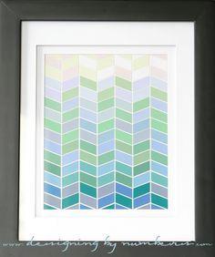 Diy Herringbone Paint chip art - Template & Tutorial