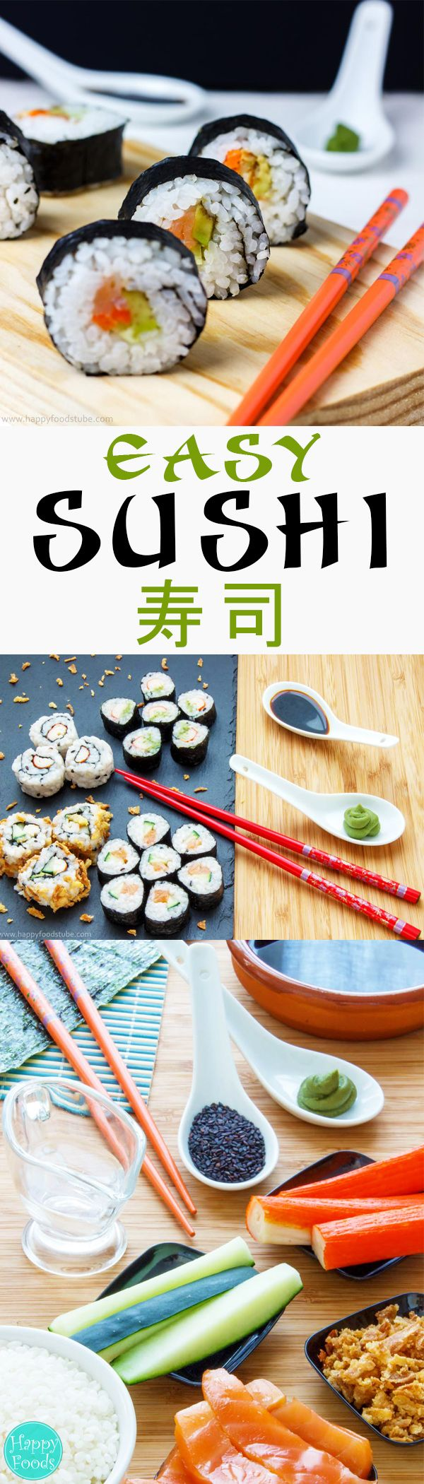 Easy Homemade Sushi - Making delicious sushi rolls at home is easy once you get the hang of it! You just need a few ingredients like salmon, cucumber, avocado, nori & rice. Japanese food | happyfoodstube.com