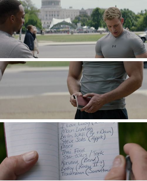 Steve Rogers is slowly figuring out the modern world. Check out his notebook from Captain America 2. << this is too cute! If you don't love Steve Rogers then you are wrong (jk but seriously you should love him) << LOL! Star Wars/Trek. I love him even more.<< he has I Love Lucy on there! !! I officially love him more!