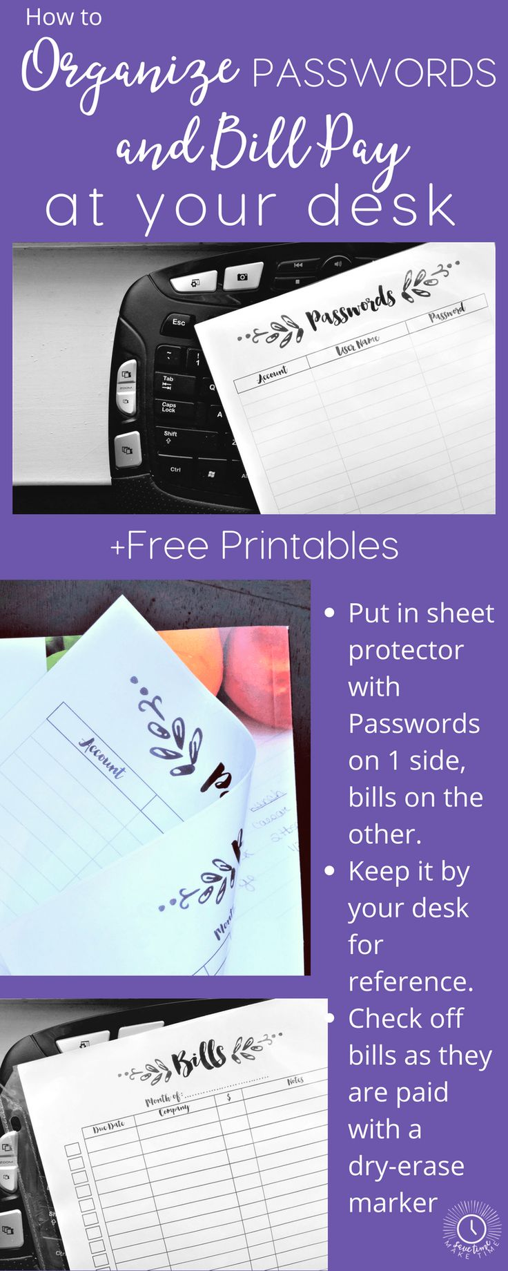 Free printable password keeper, free printable bill due date organizer dry erase set up to keep your desk organized