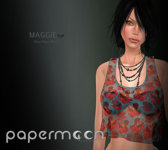 PaperMoon- MAGGIE Top Sheer Poppy Blue & Bra