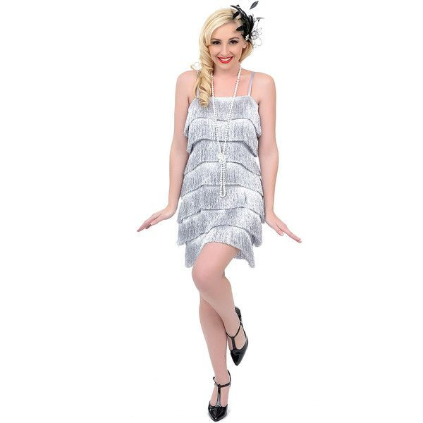Iconic by Uv  Silver Speakeasy Tiered Fringe Flapper Dress (50 CAD) ❤ liked on Polyvore featuring dresses, silver, vintage dresses, vintage white dress, fringe flapper dress, babydoll dress and vintage flapper dress