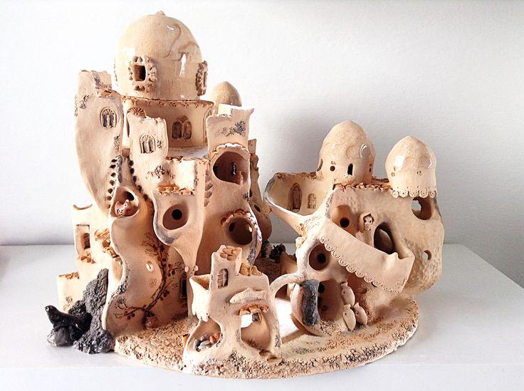 Portacandele città portuale scultura in ceramica di RINAdal1965 su Etsy
