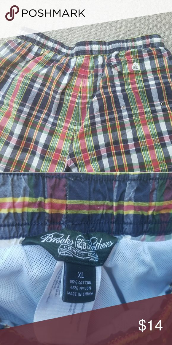 Men's xl Brooks Brothers Plaid swimming trunks #2 Very gently pre owned Brooks Brothers Swim Swim Trunks