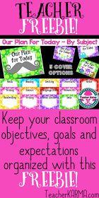 Classroom objective FREEBIE TeacherKARMA.com