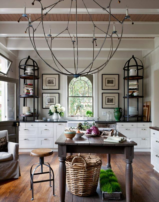 Tour an elegant country home with all the right elements // The perfect traditional pastoral home #rustic #simple #sophisticated: Cabinets, Decor, Ideas, Houses Beautiful, Kitchens Design, Lights Fixtures, Interiors, Shelves, French Country Kitchens
