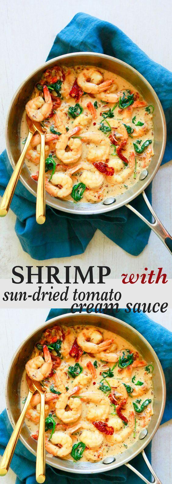 dinner recipes | shrimp recipe | easy dinner recipes | quick dinner recipes | sun dried tomato sauce | creamy sauce | parmesan cheese